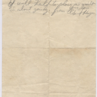 Ww1 Rollie Hayes Letter Verso